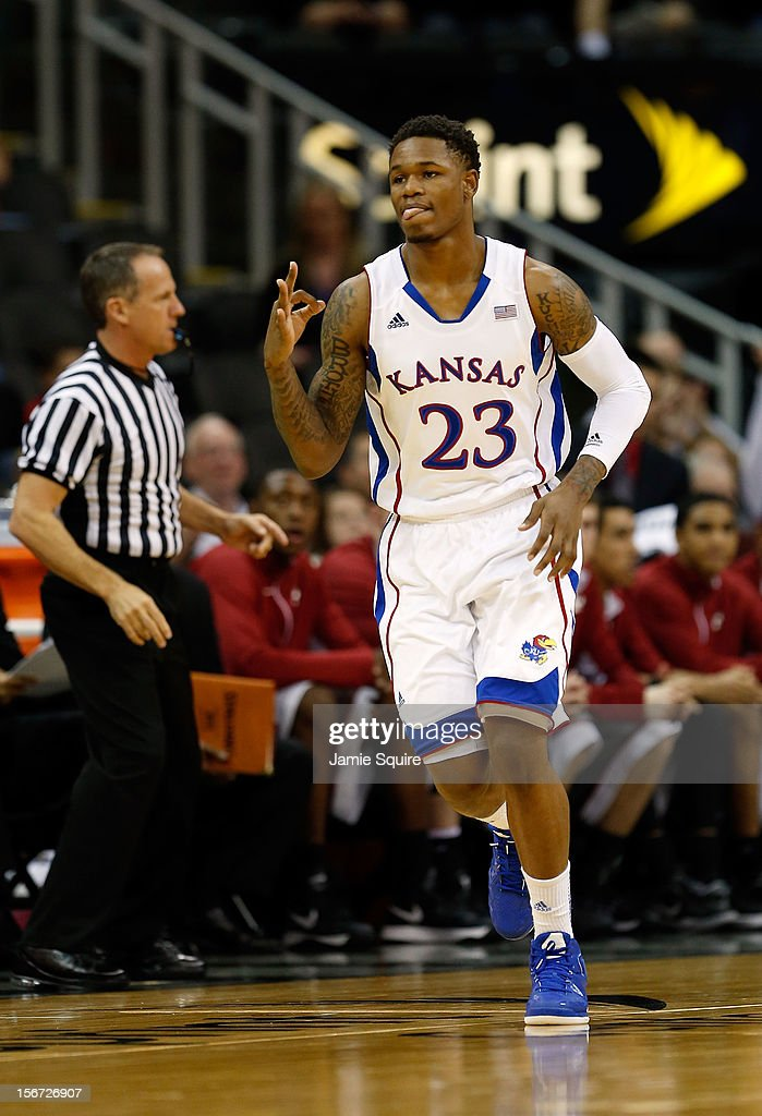 Ben McLemore #23 of the Kansas Jayhawks reacts after making a three-pointer during the CBE Hall of Fame Classic against the Washington State Cougars at Sprint Center on November 19, 2012 in Kansas City, Missouri.