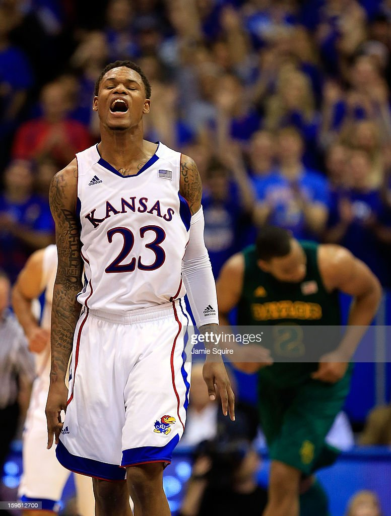Ben McLemore #23 of the Kansas Jayhawks reacts after making a three-pointer during the game against the Baylor Bears at Allen Fieldhouse on January 14, 2013 in Lawrence, Kansas.