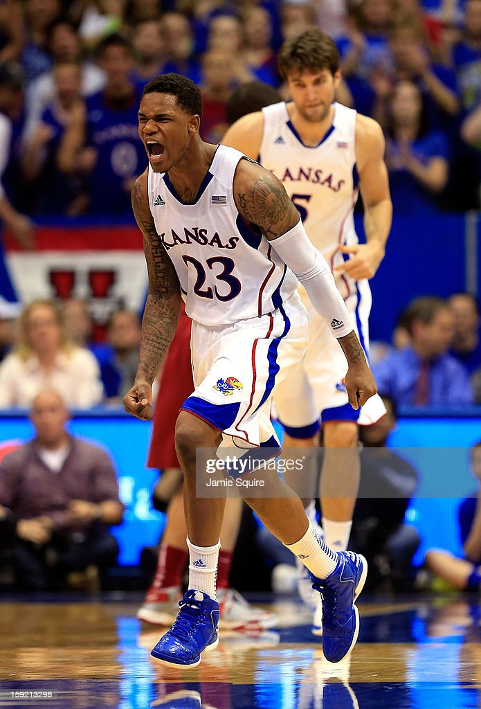 Ben McLemore of the Kansas Jayhawks reacts after sinking a threepointer during the game against the Iowa State Cyclones at Allen Fieldhouse on...