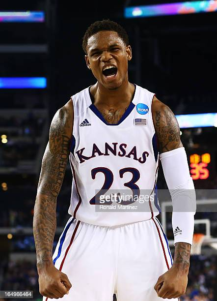 Ben McLemore of the Kansas Jayhawks reacts in the second half against the Kansas Jayhawks during the South Regional Semifinal round of the 2013 NCAA...