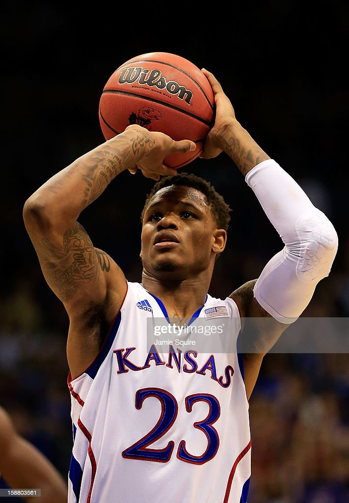 Ben McLemore #23 of the Kansas Jayhawks shoots a free throw during the game against the American University Eagles at Allen Fieldhouse on December 29, 2012 in Lawrence, Kansas.