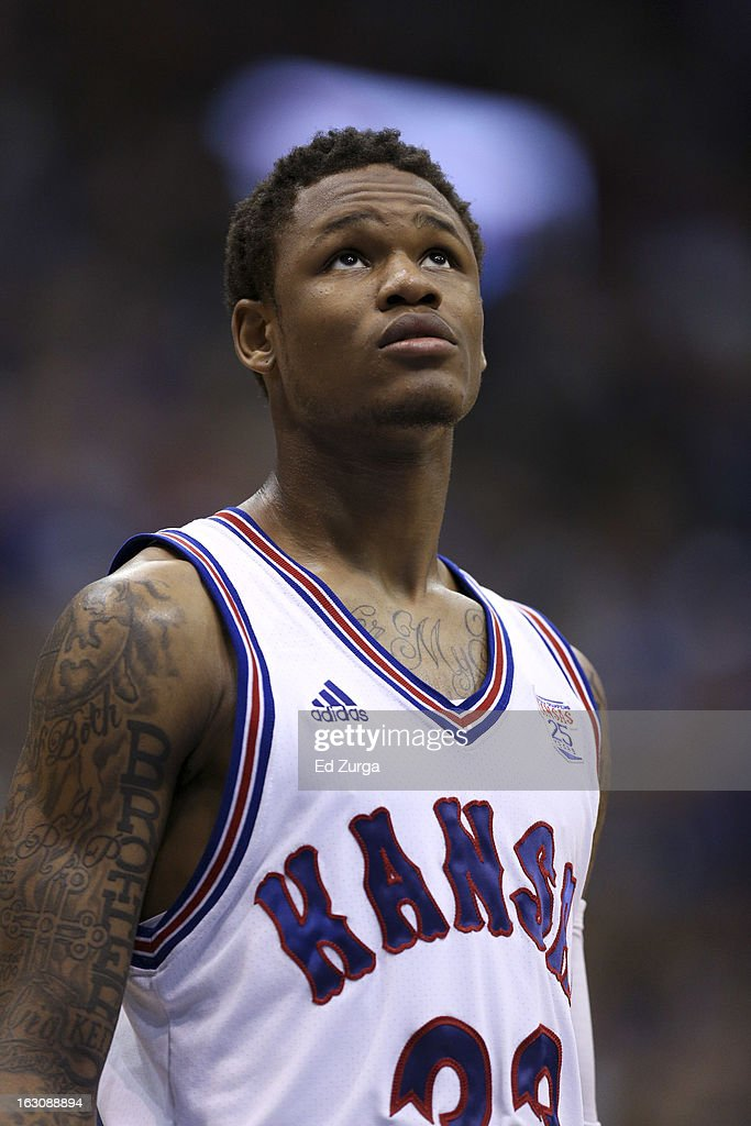 Ben McLemore #23 of the Kansas Jayhawks waits to take a free throw against the TCU Horned Frogs at Allen Field House on February 23, 2013 in Lawrence, Kansas.