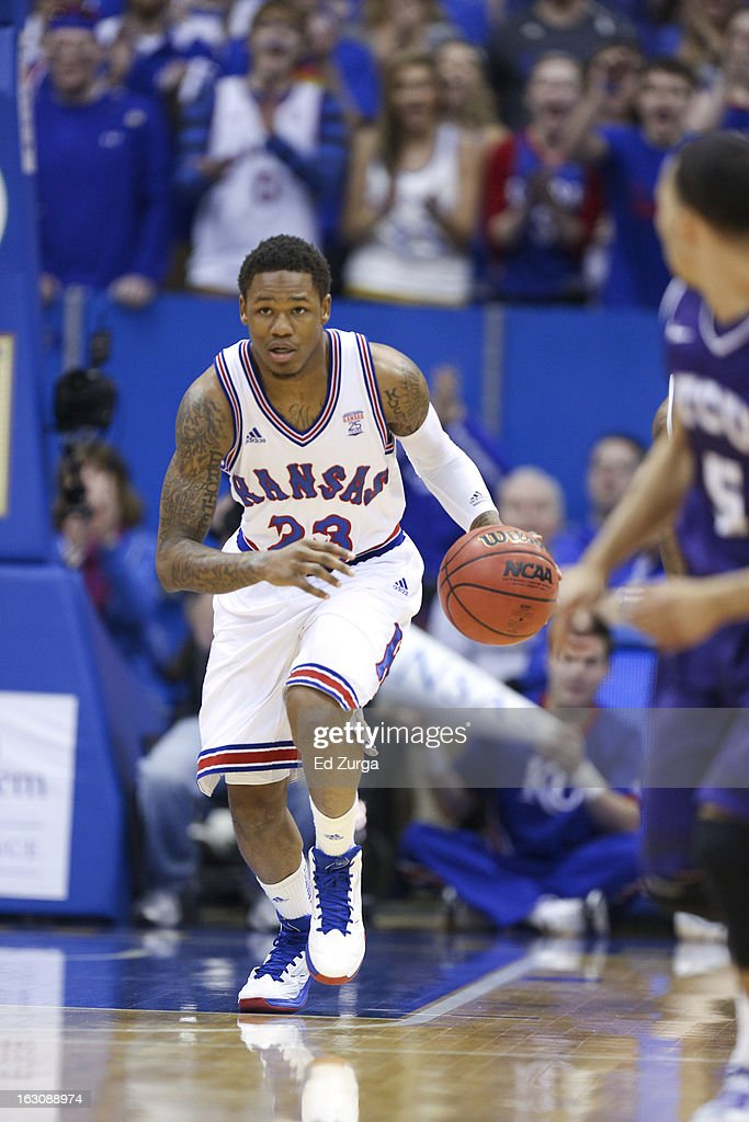 Ben McLemore #23 of the Kansas Jayhawks works the ball during a game against the TCU Horned Frogs at Allen Field House on February 23, 2013 in Lawrence, Kansas.