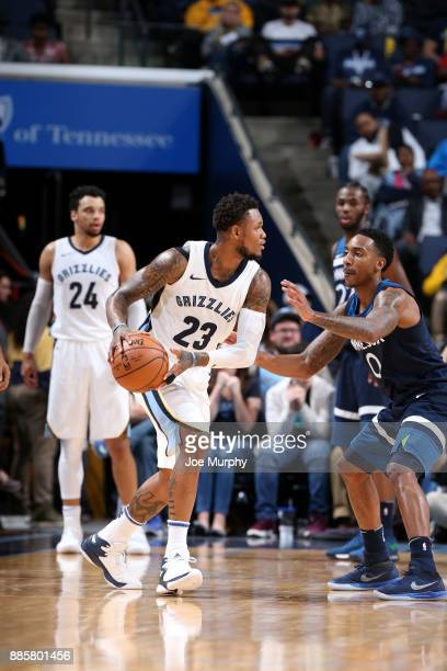 Ben McLemore of the Memphis Grizzlies handles the ball during the game Minnesota Timberwolves on December 4 2017 at FedEx Forum in Memphis Tennessee...