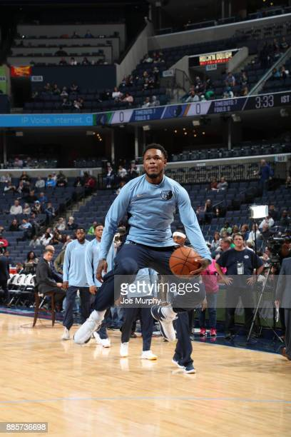 Ben McLemore of the Memphis Grizzlies warms up prior to the game against the Minnesota Timberwolves on December 4 2017 at FedEx Forum in Memphis...