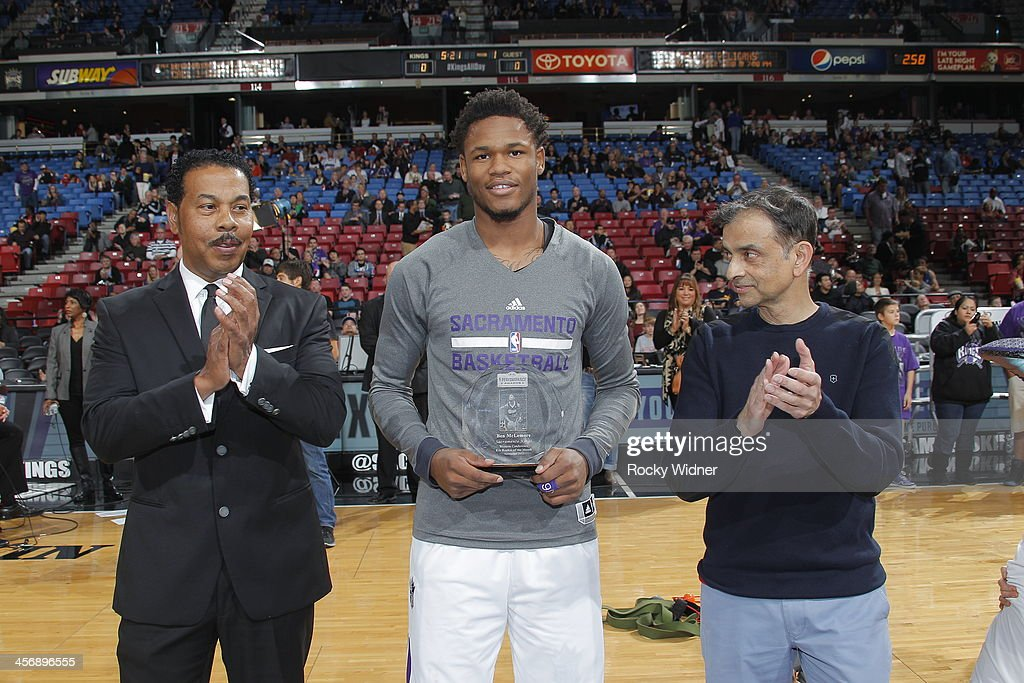 Ben McLemore #16 of the Sacramento Kings accepts his rookie of the month award prior to taking on the Houston Rockets at Sleep Train Arena on December 15, 2013 in Sacramento, California.