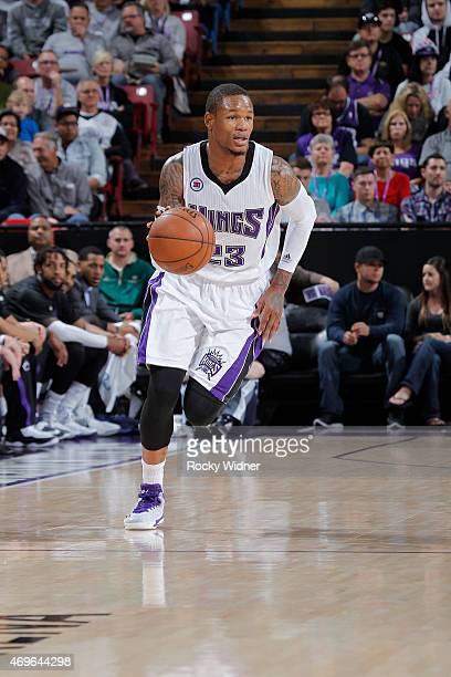Ben McLemore of the Sacramento Kings brings the ball up the court against the Minnesota Timberwolves on April 7 2015 at Sleep Train Arena in...