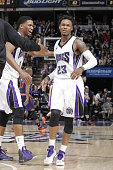 Ben McLemore of the Sacramento Kings celebrates against the Phoenix Suns on December 26 2014 at Sleep Train Arena in Sacramento California NOTE TO...