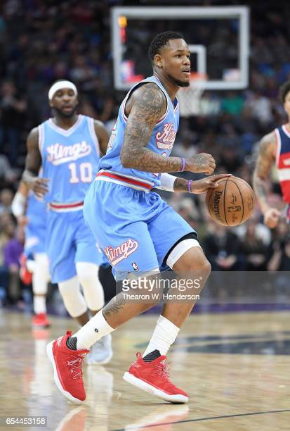 Ben McLemore of the Sacramento Kings dribbles the ball against the Washington Wizards during an NBA basketball game at Golden 1 Center on March 10...