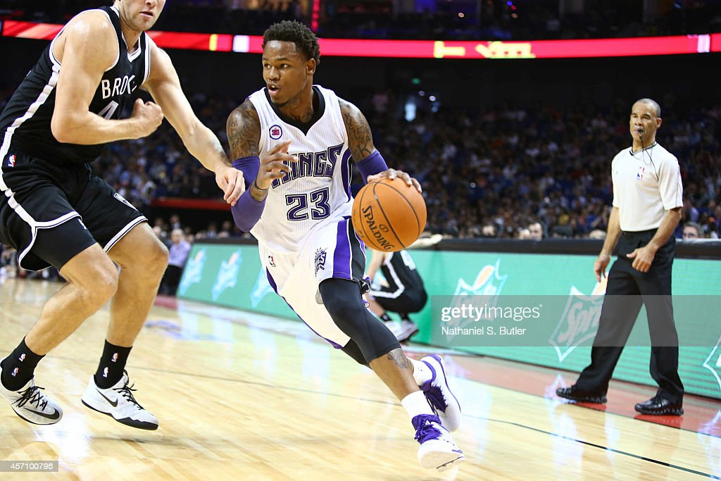 Ben McLemore of the Sacramento Kings drives against the Brooklyn Nets during the 2014 NBA Global Games at the MercedesBenz Arena on October 12 2014...