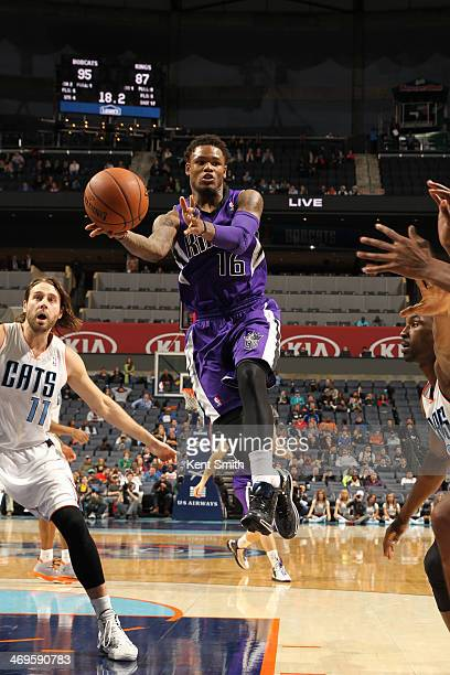 Ben McLemore of the Sacramento Kings drives against the Charlotte Bobcats at the Time Warner Cable Arena on December 14 2013 in Charlotte North...