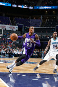 Ben McLemore of the Sacramento Kings drives against the Charlotte Hornets on March 11 2015 at Time Warner Cable Arena in Charlotte North Carolina...