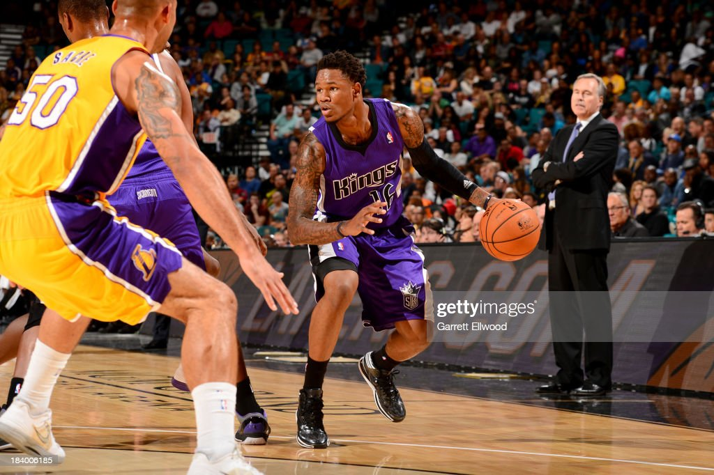 <a gi-track='captionPersonalityLinkClicked' href=/galleries/search?phrase=Ben+McLemore&family=editorial&specificpeople=9966388 ng-click='$event.stopPropagation()'>Ben McLemore</a> #16 of the Sacramento Kings drives against the Los Angeles Lakers at the MGM Grand Garden Arena on October 10, 2013 in Las Vegas, Nevada.