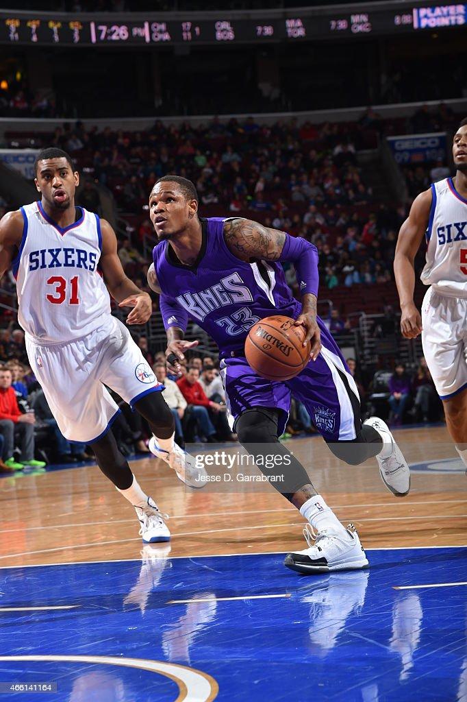 Ben McLemore of the Sacramento Kings drives to the basket against the Philadelphia 76ers at Wells Fargo Center on March 13 2015 in Philadelphia...