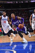 Ben McLemore of the Sacramento Kings drives to the basket against the Philadelphia 76ers at Wells Fargo Center on March 13 2015 in Philadelphia...