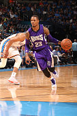 Ben McLemore of the Sacramento Kings drives to the basket against the Oklahoma City Thunder on April 10 2015 at the Chesapeake Energy Arena in...
