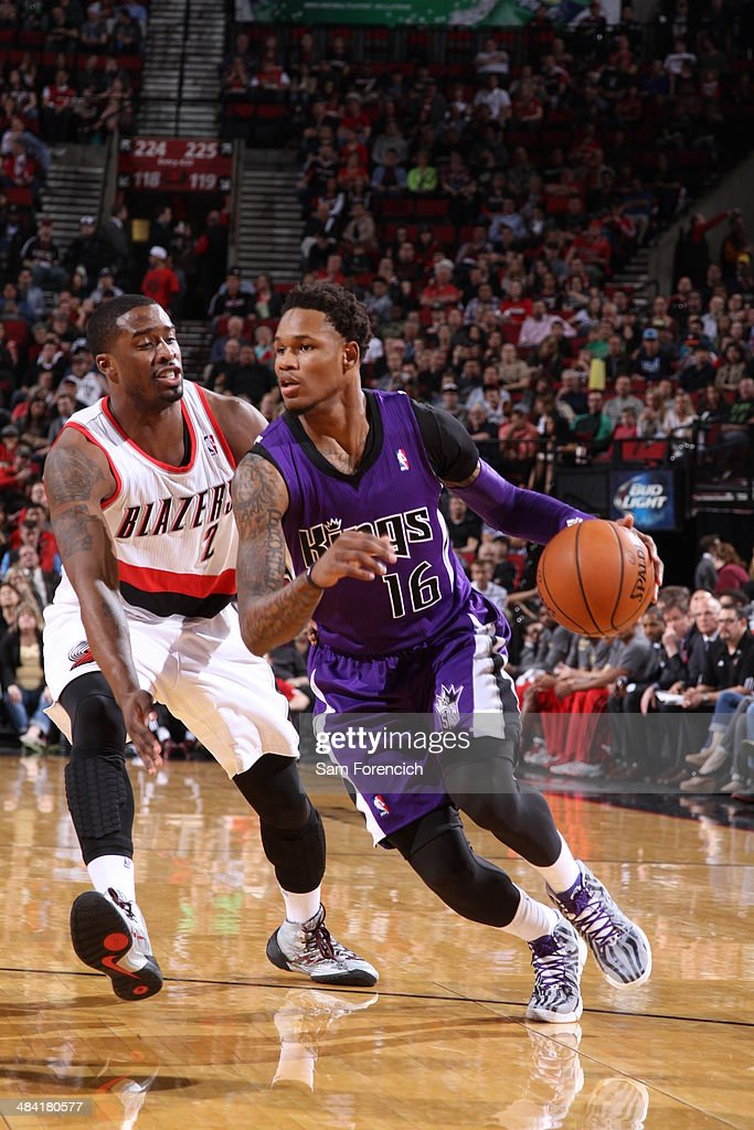 <a gi-track='captionPersonalityLinkClicked' href=/galleries/search?phrase=Ben+McLemore&family=editorial&specificpeople=9966388 ng-click='$event.stopPropagation()'>Ben McLemore</a> #16 of the Sacramento Kings drives to the basket against the Portland Trail Blazers on April 9, 2014 at the Moda Center Arena in Portland, Oregon.