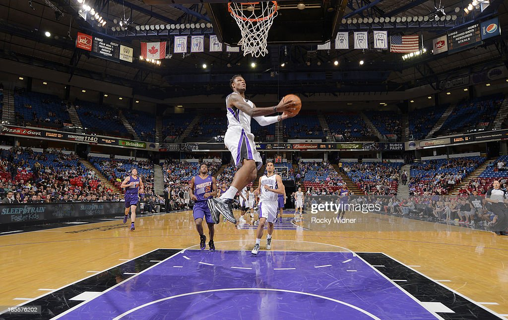 <a gi-track='captionPersonalityLinkClicked' href=/galleries/search?phrase=Ben+McLemore&family=editorial&specificpeople=9966388 ng-click='$event.stopPropagation()'>Ben McLemore</a> #16 of the Sacramento Kings dunks against the Phoenix Suns on October 17, 2013 at Sleep Train Arena in Sacramento, California.