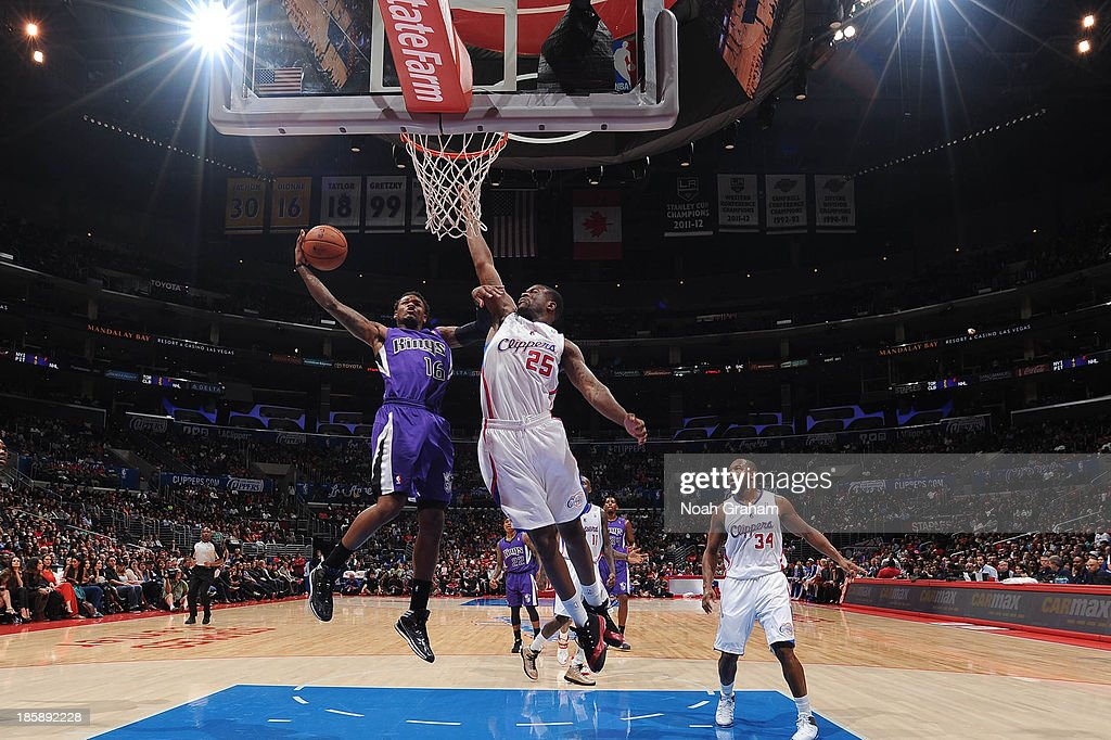 <a gi-track='captionPersonalityLinkClicked' href=/galleries/search?phrase=Ben+McLemore&family=editorial&specificpeople=9966388 ng-click='$event.stopPropagation()'>Ben McLemore</a> #16 of the Sacramento Kings goes to the basket against Reggie Bullock #25 of the Los Angeles Clippers at Staples Center on October 25, 2013 in Los Angeles, California.