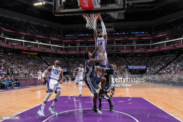 Ben McLemore of the Sacramento Kings goes up for a dunk during a game against the Memphis Grizzlies on March 27 2017 at Golden 1 Center in Sacramento...