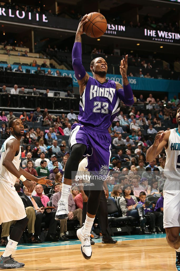 Ben McLemore of the Sacramento Kings goes up for a shot against the Charlotte Hornets at the Time Warner Cable Arena on March 11 2015 in Charlotte...