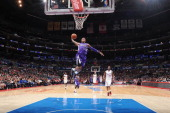 Ben McLemore of the Sacramento Kings goes up for an uncontested dunk against the Los Angeles Clippers at Staples Center on November 23 2013 in Los...