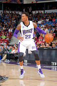 Ben McLemore of the Sacramento Kings handles the ball against Maccabi Haifa during a game at Sleep Train Arena on October 18 2014 in Sacramento...