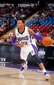 Ben McLemore of the Sacramento Kings handles the ball against Maccabi Haifa on October 18 2014 at Sleep Train Arena in Sacramento California NOTE TO...