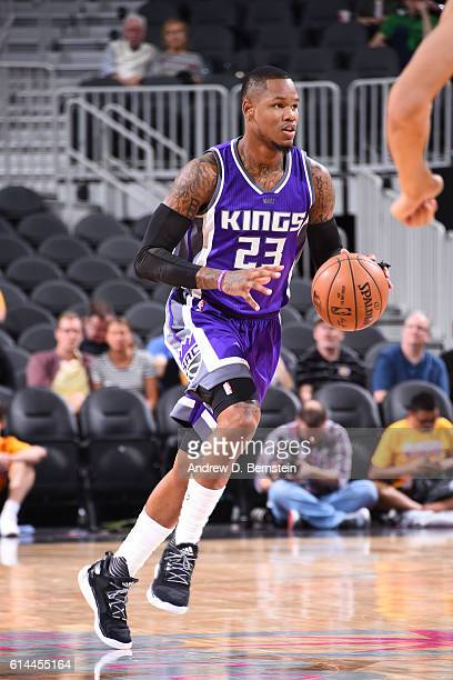 Ben McLemore of the Sacramento Kings handles the ball against the Los Angeles Lakers on October 13 2016 at the TMobile Arena in Las Vegas Nevada NOTE...
