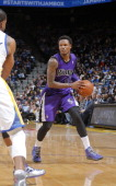 Ben McLemore of the Sacramento Kings handles the ball against the Golden State Warriors on April 4 2014 at Oracle Arena in Oakland California NOTE TO...