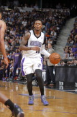 Ben McLemore of the Sacramento Kings handles the ball against the Phoenix Suns on April16 2014 at Sleep Train Arena in Sacramento California NOTE TO...