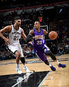 Ben McLemore of the Sacramento Kings handles the ball against the San Antonio Spurs at the ATT Center on March 4 2014 in San Antonio Texas NOTE TO...