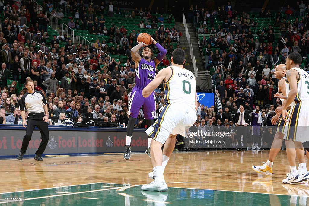 <a gi-track='captionPersonalityLinkClicked' href=/galleries/search?phrase=Ben+McLemore&family=editorial&specificpeople=9966388 ng-click='$event.stopPropagation()'>Ben McLemore</a> #16 of the Sacramento Kings hits the 3-point shot against the Utah Jazz to send the game into overtime at EnergySolutions Arena on December 07, 2013 in Salt Lake City, Utah.