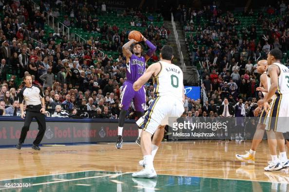 Ben McLemore of the Sacramento Kings hits the 3point shot against the Utah Jazz to send the game into overtime at EnergySolutions Arena on December...