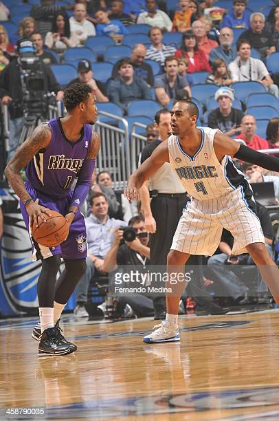 Ben McLemore of the Sacramento Kings looks to pass the ball against the Orlando Magic during the game on December 21 2013 at Amway Center in Orlando...