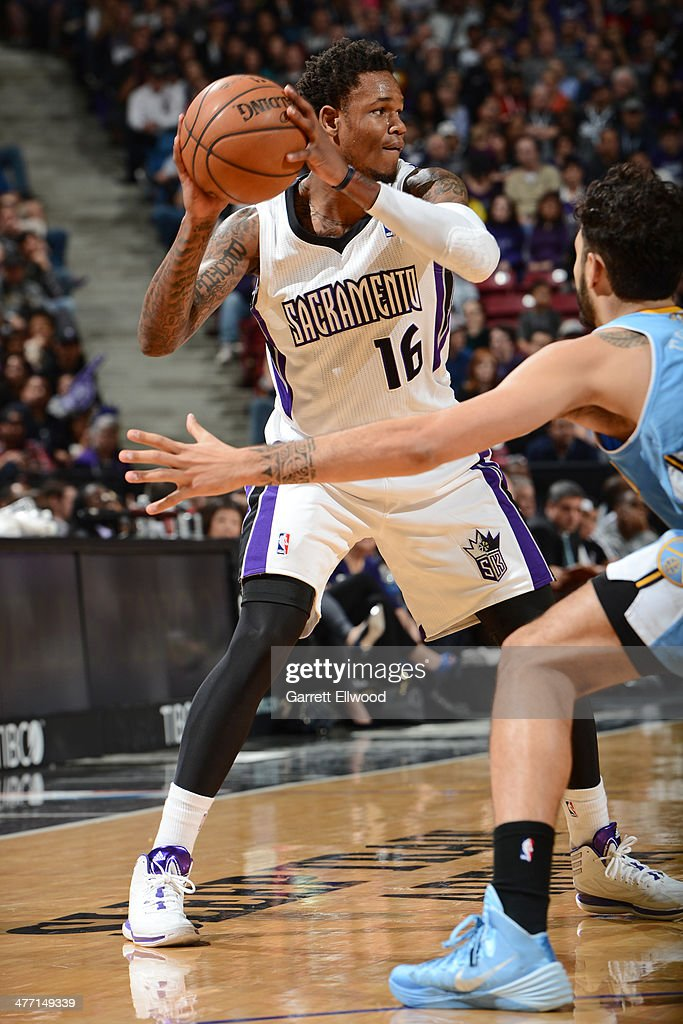 <a gi-track='captionPersonalityLinkClicked' href=/galleries/search?phrase=Ben+McLemore&family=editorial&specificpeople=9966388 ng-click='$event.stopPropagation()'>Ben McLemore</a> #16 of the Sacramento Kings looks to pass the ball against the Denver Nuggets at Sleep Train Arena on January 26, 2014 in Sacramento, California.