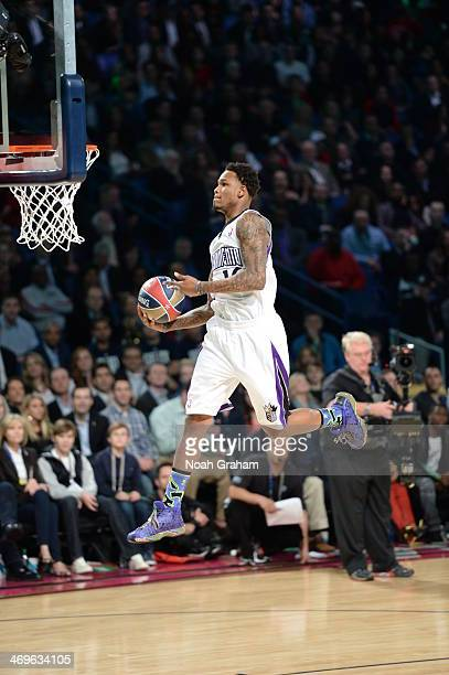 Ben McLemore of the Sacramento Kings participates in the Sprite Slam Dunk Contest on State Farm AllStar Saturday Night as part of the 2014 AllStar...