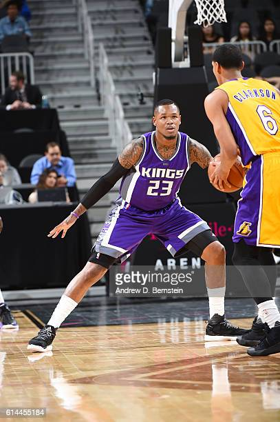 Ben McLemore of the Sacramento Kings plays defense against Jordan Clarkson of the Los Angeles Lakers on October 13 2016 at the TMobile Arena in Las...