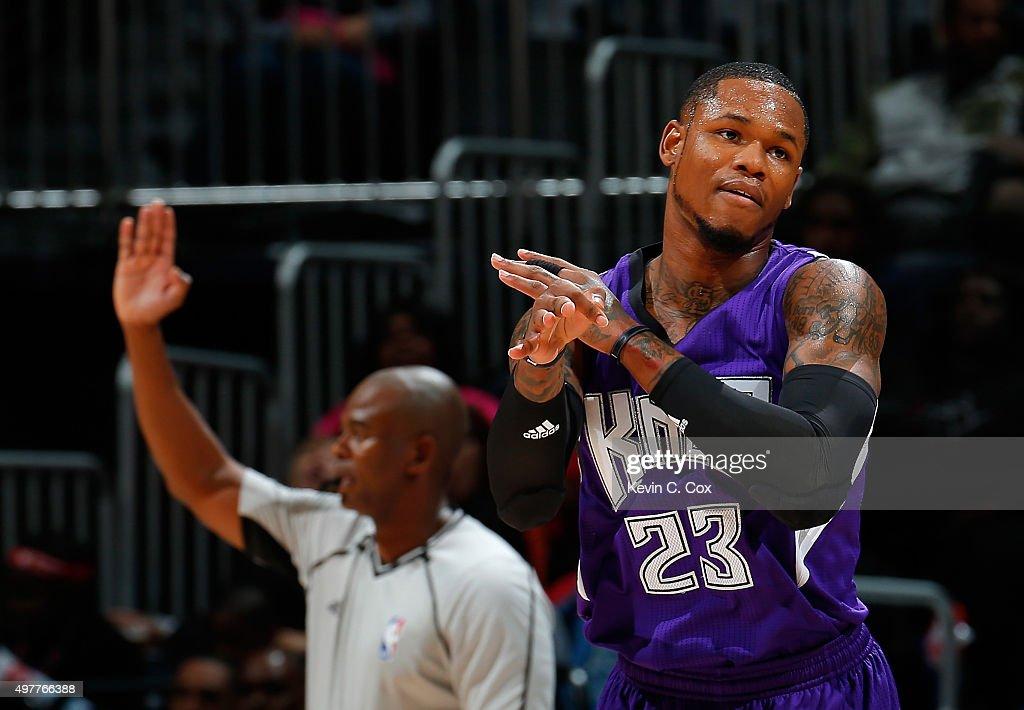 Ben McLemore of the Sacramento Kings reacts after hitting a basket against the Atlanta Hawks at Philips Arena on November 18 2015 in Atlanta Georgia...