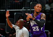 Ben McLemore of the Sacramento Kings reacts after hitting a basket against the Atlanta Hawks at Philips Arena on November 18 2015 in Atlanta Georgia...