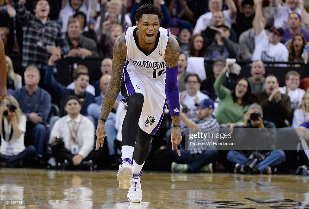 <a gi-track='captionPersonalityLinkClicked' href=/galleries/search?phrase=Ben+McLemore&family=editorial&specificpeople=9966388 ng-click='$event.stopPropagation()'>Ben McLemore</a> #16 of the Sacramento Kings reacts after hitting a three-point shot against the Los Angeles Lakers at Sleep Train Arena on December 6, 2013 in Sacramento, California.