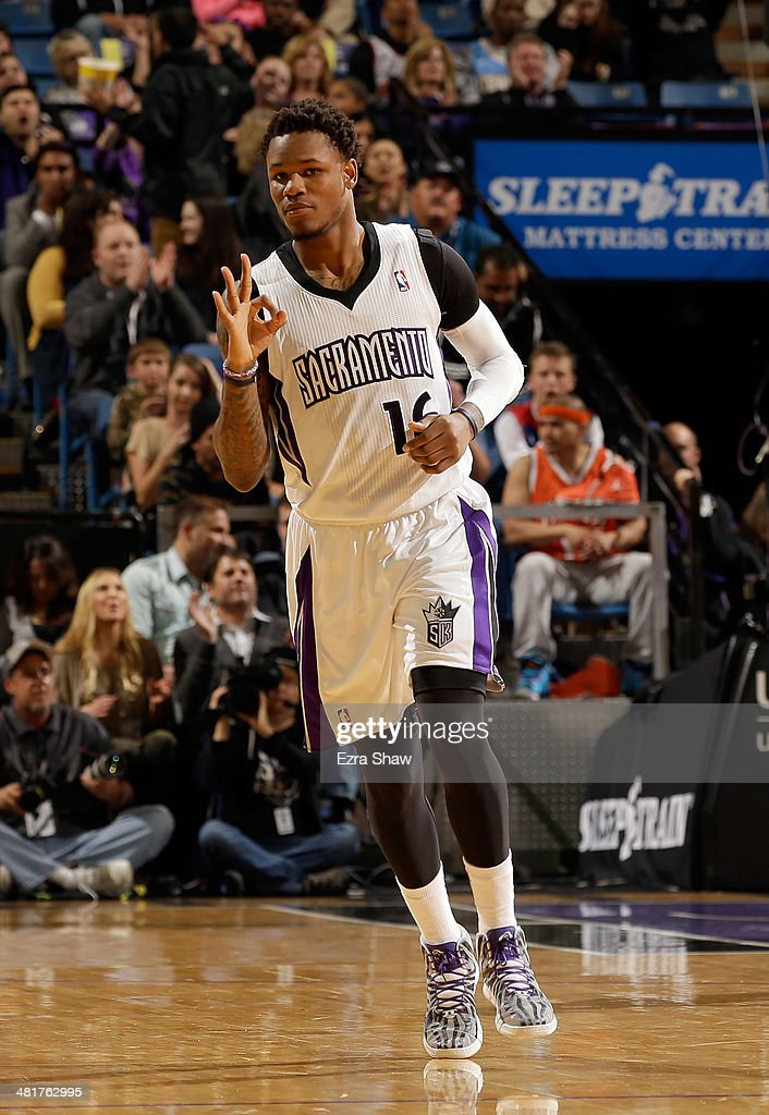 <a gi-track='captionPersonalityLinkClicked' href=/galleries/search?phrase=Ben+McLemore&family=editorial&specificpeople=9966388 ng-click='$event.stopPropagation()'>Ben McLemore</a> #16 of the Sacramento Kings reacts after making a three-point basket against the New York Knicks at Sleep Train Arena on March 26, 2014 in Sacramento, California.