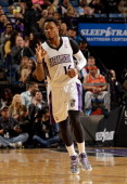 Ben McLemore of the Sacramento Kings reacts after making a threepoint basket against the New York Knicks at Sleep Train Arena on March 26 2014 in...