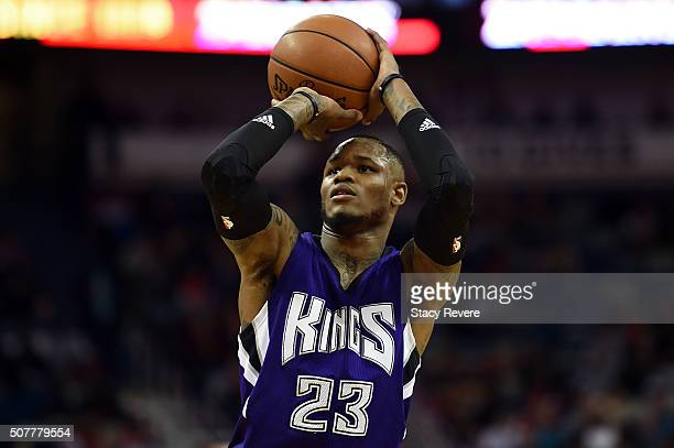 Ben McLemore of the Sacramento Kings shoots a free throw during a game against the New Orleans Pelicans at the Smoothie King Center on January 28...