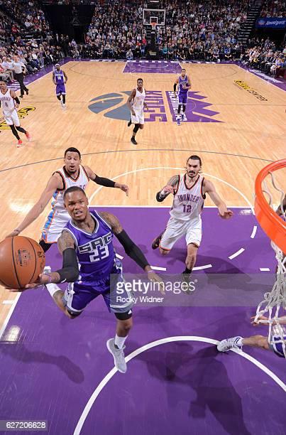 Ben McLemore of the Sacramento Kings shoots a layup against the Oklahoma City Thunder on November 23 2016 at Golden 1 Center in Sacramento California...