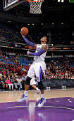 Ben McLemore of the Sacramento Kings shoots a layup against the Toronto Raptors on October 7 2014 at Sleep Train Arena in Sacramento California NOTE...