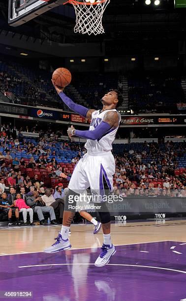 Ben McLemore of the Sacramento Kings shoots a layup against the Toronto Raptors on October 7 2014 at Sleep Train Arena in Sacramento California NOTE...