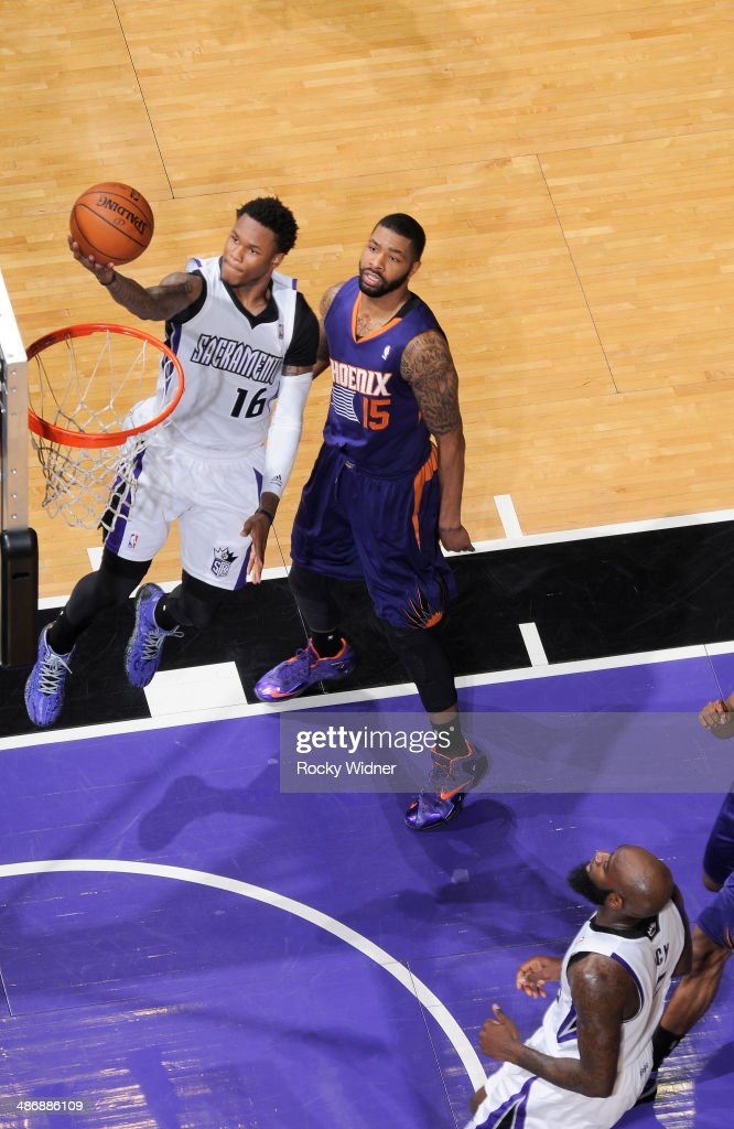 <a gi-track='captionPersonalityLinkClicked' href=/galleries/search?phrase=Ben+McLemore&family=editorial&specificpeople=9966388 ng-click='$event.stopPropagation()'>Ben McLemore</a> #16 of the Sacramento Kings shoots a layup against the Phoenix Suns on April16, 2014 at Sleep Train Arena in Sacramento, California.