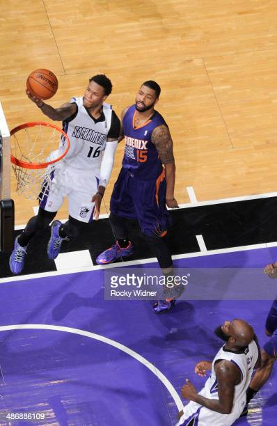 Ben McLemore of the Sacramento Kings shoots a layup against the Phoenix Suns on April16 2014 at Sleep Train Arena in Sacramento California NOTE TO...