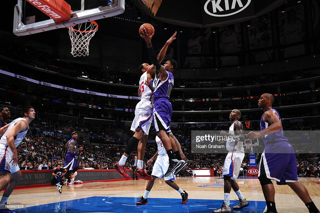<a gi-track='captionPersonalityLinkClicked' href=/galleries/search?phrase=Ben+McLemore&family=editorial&specificpeople=9966388 ng-click='$event.stopPropagation()'>Ben McLemore</a> #16 of the Sacramento Kings shoots against <a gi-track='captionPersonalityLinkClicked' href=/galleries/search?phrase=Ryan+Hollins&family=editorial&specificpeople=182556 ng-click='$event.stopPropagation()'>Ryan Hollins</a> #15 of the Los Angeles Clippers at Staples Center on October 25, 2013 in Los Angeles, California.